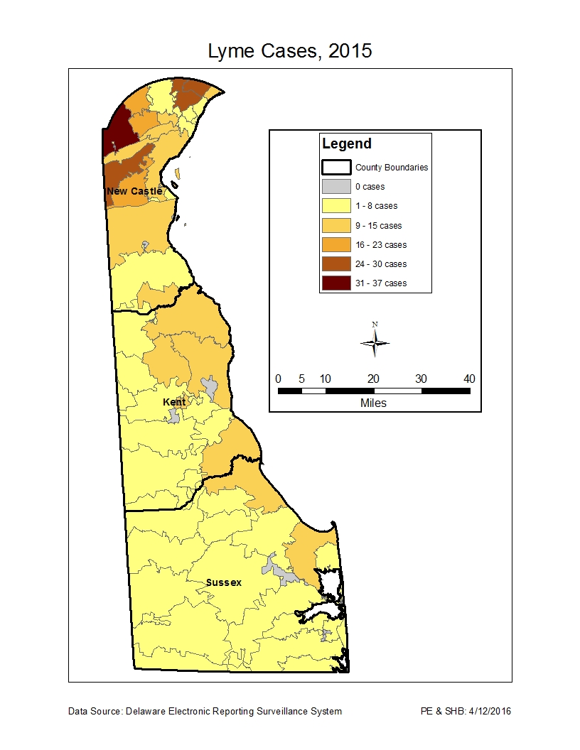 Delaware Specific Map Of 2015 Lyme Cases Cdc Lyme Disease Statistics